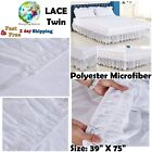 Lace Trimmed Elastic Bed Wrap Around Skirt Easy Fit Dust Ruffle Bedskirt Bedroom image