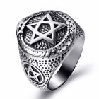 Men Stainless Steel Ring Ouroboros Snake Serpent Eating Tail Pentagram Masonic