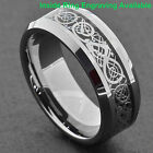 8mm Tungsten Silver Dragon Celtic Scroll Inlay Ring Men's Wedding Band image