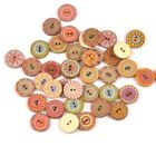 Painted Wood Buttons Accessories Handwork Sewing Clothing Crafts Gear 20PCS/Lot
