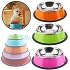 Small Dog Pet Puppy Anti Skid Stainless Steel Feeding Food Drink Bowl Plate UK