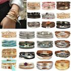 Women Multilayer Leather Bracelet Fashion Magnetic Clasp Bangle Wristband Cuff image