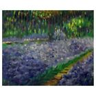 Field of Purple Flowers Floral Garden Impressionist Canvas Oil Painting Wall Art