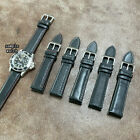 Size 18/20/22mm Taper Style Mens Black Leather Padded Watch Strap/Band S-15(C) image