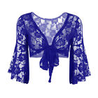 Women Belly Blazer Bolero Dance Crop Tops Long Flared Sleeve Shirt Lace Shawl