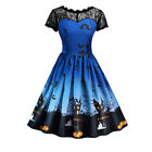 Women's Vintage Long Sleeve Casual Halloween Prom Evening Party Swing Maxi Dress