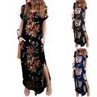 Women Casual Loose Pocket Print Long Dress Short Sleeve Split Maxi Beach Dresses