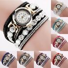 Women Crystal Diamond PU Leather Quartz Watch Fashion Girl Wrist Bracelets Gifts image