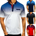 Mens Collared T-Shirts Short Sleeve Muscle T Shirt Golf Solid Casual Summer Tops image
