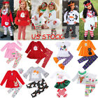 2pcs Kids Baby Girls Outfits Floral Long Sleeve Top T Shirt Dress Pants Clothes