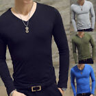 Men Slim Fit T-shirt Long Sleeve Tops Pullover V-Neck Blouse Casual Fashion New image