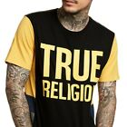 True Religion Men's Logo Graphic Side Panel Tee T-Shirt in Black/Yellow/Blue image