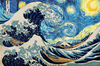 Starry Night And The Great Wave Off Kanagawa - CANVAS OR PRINT WALL ART