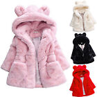 Toddler Kids Girls Winter Warm Coat Faux Fur Hooded Outerwear Jacket Clothes