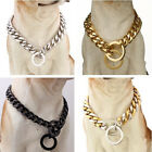Strong 10/12/15/17/19mm Pet Dog Choker Collar Stainless Steel Curb Cuban Chain