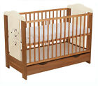 "BABY COT WITH DRAWER ""DUMBO"" /COT FOR BABY / COLOR WALNUT CREAM + MATTRESS"