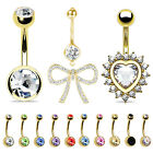 BodyJ4You Belly Button Ring Dangle Navel Piercing 14G Stainless Steel 12 Pieces image