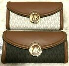 Michael Kors Signature Mixed Media Fulton Flap Continental Clutch Wallet $198 image