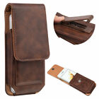 """for iPhone XR 6.1"""" Black VERTICAL Leather Card Slot Pouch Belt Clip Holster Case"""