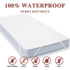 Waterproof Fitted Sheet Mattress Cover Pad Protector Soft Terry Towel Non-Skid image