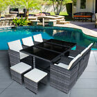 11 Piece 10 Seater Rattan Cube Dining Table Garden Furniture Outdoor Patio Set