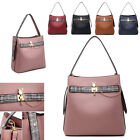 Ladies Faux Leather Bucket Handbag Patent Tartan Shoulder Bag Tote Bag MW6096