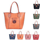 Ladies Stylish Fx Leather Bucket Handbag Large Button Shoulder Bag Tote MZ-9821