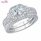 Wedding Engagement Ring Set For Women 925 Sterling Silver Vintage White AAAA Cz