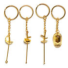 Souvenir Gift Fencing Hanging Keychain Silver Gold Mask Foil Epee Sabre Ornament