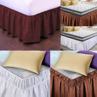 "Pleated Bed Skirt Polyester Wrap Around Dust Ruffle 15"" Drop Elastic Bedding Bed image"