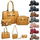 Modern Structured Leather Effect Bow Detail Tote Crossbody Clutch Trio Set