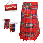 Scottish Modern Royal Stewart Men's 5 Yard Tartan Kilt & Flashes Premium Quality