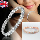 Women Sparkling Silver Crystal Rhinestone Bangle Bracelet Wedding Bridal Jewelry