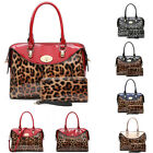 Ladies Designer Leopard Handbag & Matching Purse Set Clasp Shoulder Bag MA36515