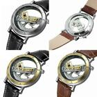 FORSINING Men Skeleton Bridge Leather Steampunk Automatic Mechanical Wrist Watch image
