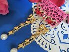 Betsey Johnson Gold Tone Dangle Hearts Red Rhinestones Earrings  NEW image