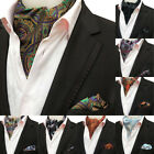 Men's Cravat Tie Set Handkerchief 100 Silk Paisley Ascot Necktie Sets For Party