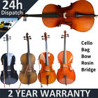 4/4 Size Professional Basswood Acoustic Cello +Bag+ Bow+ Rosin+ Bridge NEW