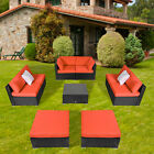 2-9 PCs Patio Sofa Set PE Rattan Wicker with Orange Cushion Outdoor Furniture