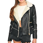 PU Faux Leather Biker Jacket Winter Sherpa Collar Aviator Coat Size  Womens