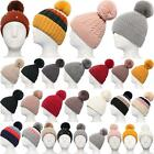New Wool Acrylic Fluffy Pom-Pom Accent Ladies Knitted Bobble Beanie Hat