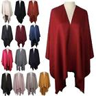 New Ladies Wool Silk Cotton Plain Design Winter Large Cape Shawl