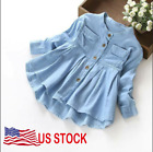 Toddler Kid Baby Girls Denim Ruched Long Sleeve T Shirts Tops Clothing Blouse