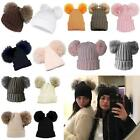New Ladies Double Synthetic Fur Pom-Poms Winter Fashion Beanie Bobble Hat