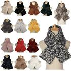 New Soft Synthetic Fur Leopard Animal Print Rhinestone Ladies Scarf
