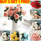 10 Heads Silk Rose Artificial Flowers Fake Bouquet Wedding Home Party Decor