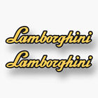 2x LAMBORGHINI Sticker Vinyl Decal Car Window Cursive Orange Aventador Huracan