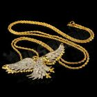 18K Gold CZ Out Iced Bald Eagle Bird Stainless Steel Rope Chain Pendant Necklace