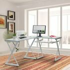 Techni Mobili L-Shaped Tempered Glass Top Computer Desk w/ Pull Out Keyboard