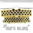 14k Gold GRILLZ Checkered CZ Bling Out Iced Tooth Mouth Teeth Cap Hip Hop Grills